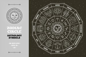 Zodiac circle. Astrology symbols.