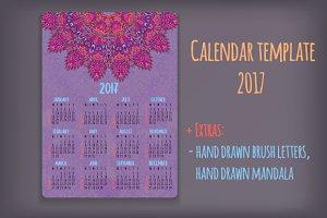 2017 Calendar template + Extras