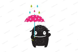 Monster Umbrella Colorful Rain