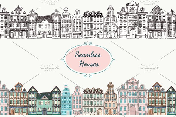 Seamless Old Styled Houses