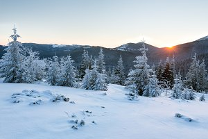 Sunrise winter mountain view