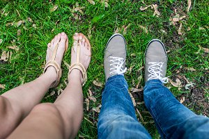 feet and shoes of couple