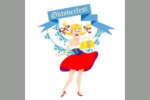 cute cartoon Oktoberfest girl