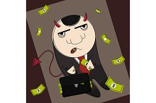 Devil in suit with suitcase. Vector