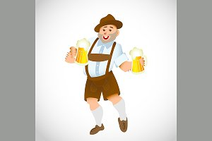 bavarian man with a big glass