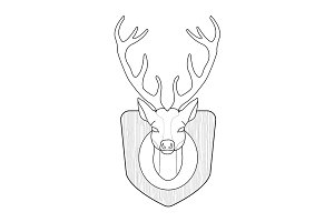 Hunting trophy. Deer head. Vector
