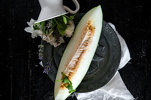 Fresh melon on the wooden table