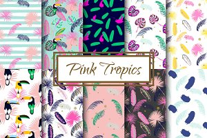 Pink Tropics seamless patterns