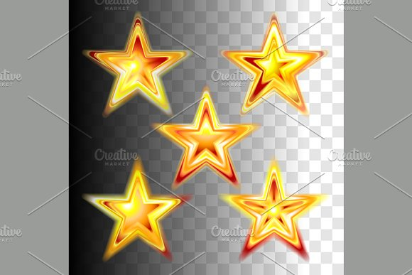 Gold red christmas stars