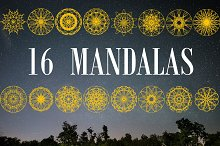 Collection of 16 Gold Mandalas