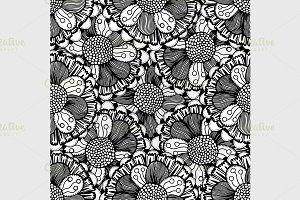 Seamless Monochrome Floral Pattern.