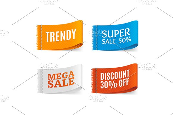 Clothes Fabric Sale Labels Set. in Objects