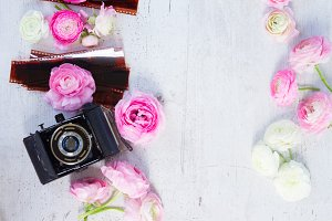 Old camera and ranunculus flowers