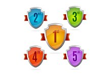 Award Shield Set with Numbers