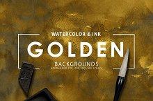 Golden Watercolor & Ink Backgrounds