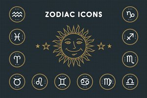 Thin line zodiac icons set