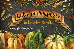 Autumn Pumpkins Watercolor Bundle