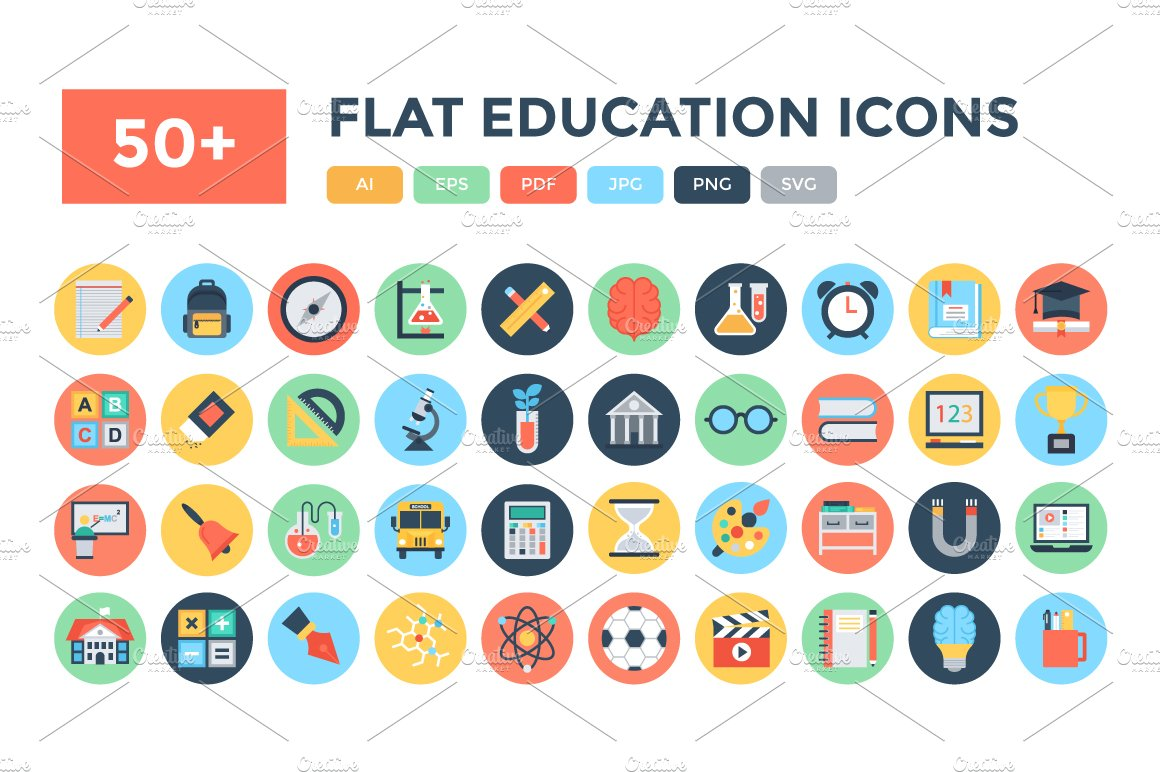 50 flat education vector icons icons creative market