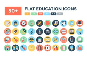 50+ Flat Education Vector Icons