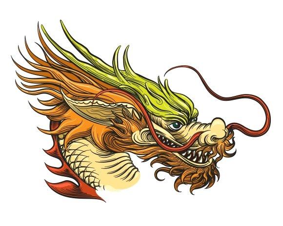 Asian Tattoos Illustrations: Chinese Dragon Head