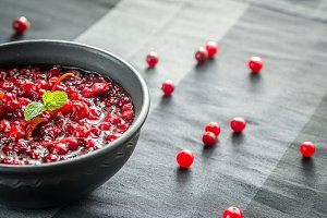 Bowl of homemade cranberry sauce