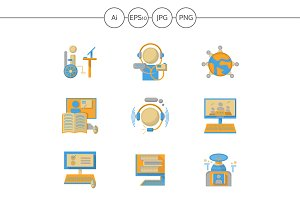 Flat color distance education icons