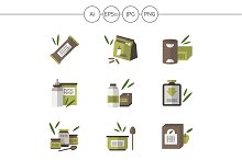 Organic food flat color vector icons