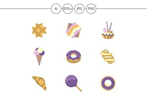 Sweets and candy flat icons. Set 2
