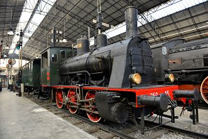 Old steam train on railway station
