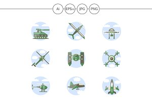 Military drones flat icons. Set 4