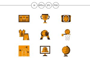 Basketball flat vector icons. Set 3