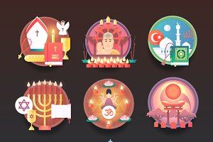 Religions and confessions flat icons