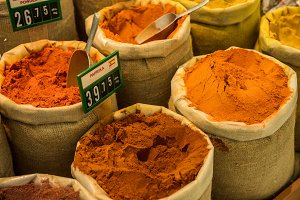 colored spices on sale market