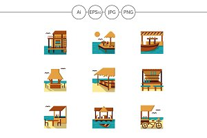 Bungalows and cafe flat icons. Set 4