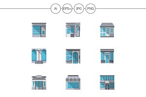 Storefronts flat color icons. Set 4