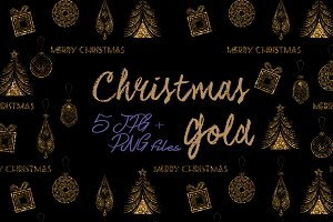 Glitter Christmas Papers, PNG Set