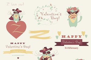 Vector set of funny valentines cats