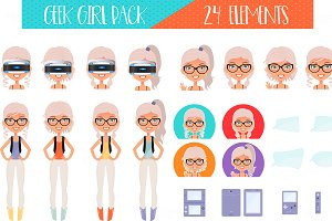 Geek Girl Pack - 24 Vector Elements