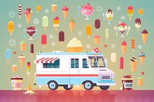 Ice cream truck flat illustration