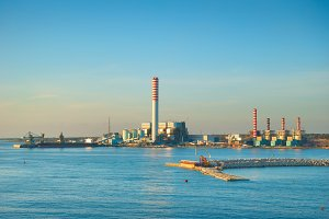 Industrial factory on seashore