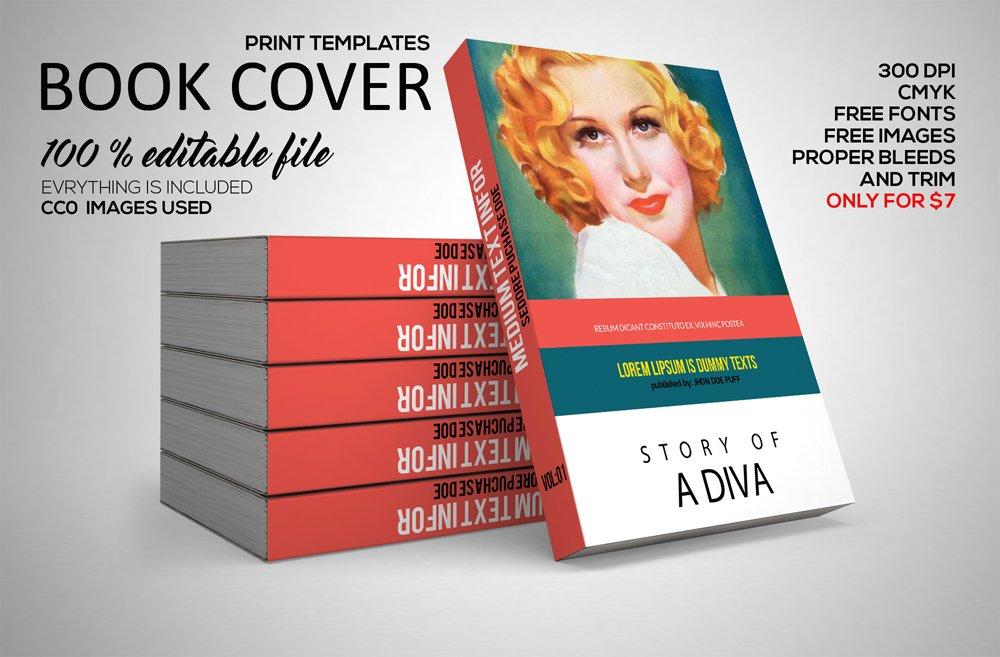 Book Cover Template Gimp ~ Book cover print template psd magazine templates