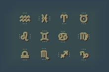 Thin line zodiac icons set