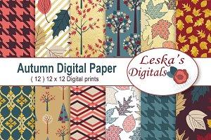 Autumn Digital Paper - Fall Patterns