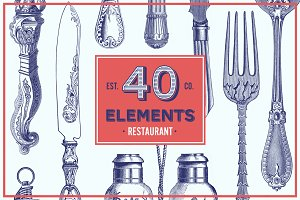 Restaurant Vector Pack - 40 Elements