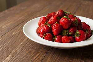 Close-up view of fresh strawberries