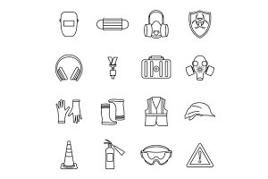 Safety icons set, thin line style