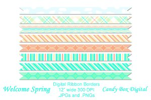 Welcome Spring Digital Ribbons