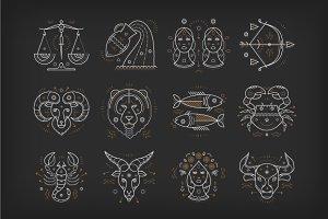 Thin Line Zodiacal Symbols