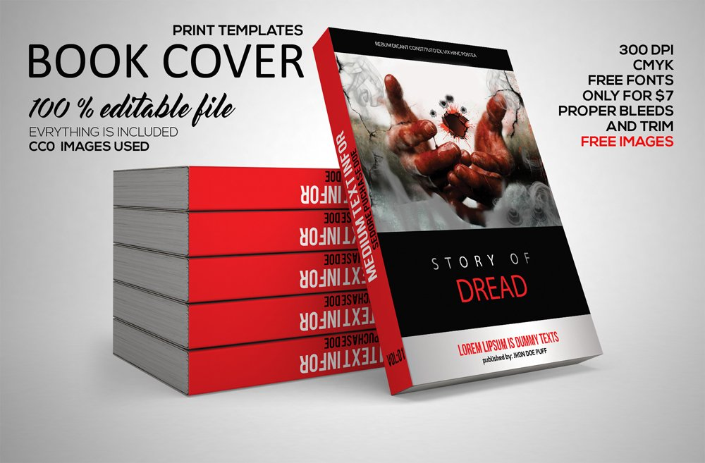 D Book Cover Template Psd : Book cover print template psd stationery templates
