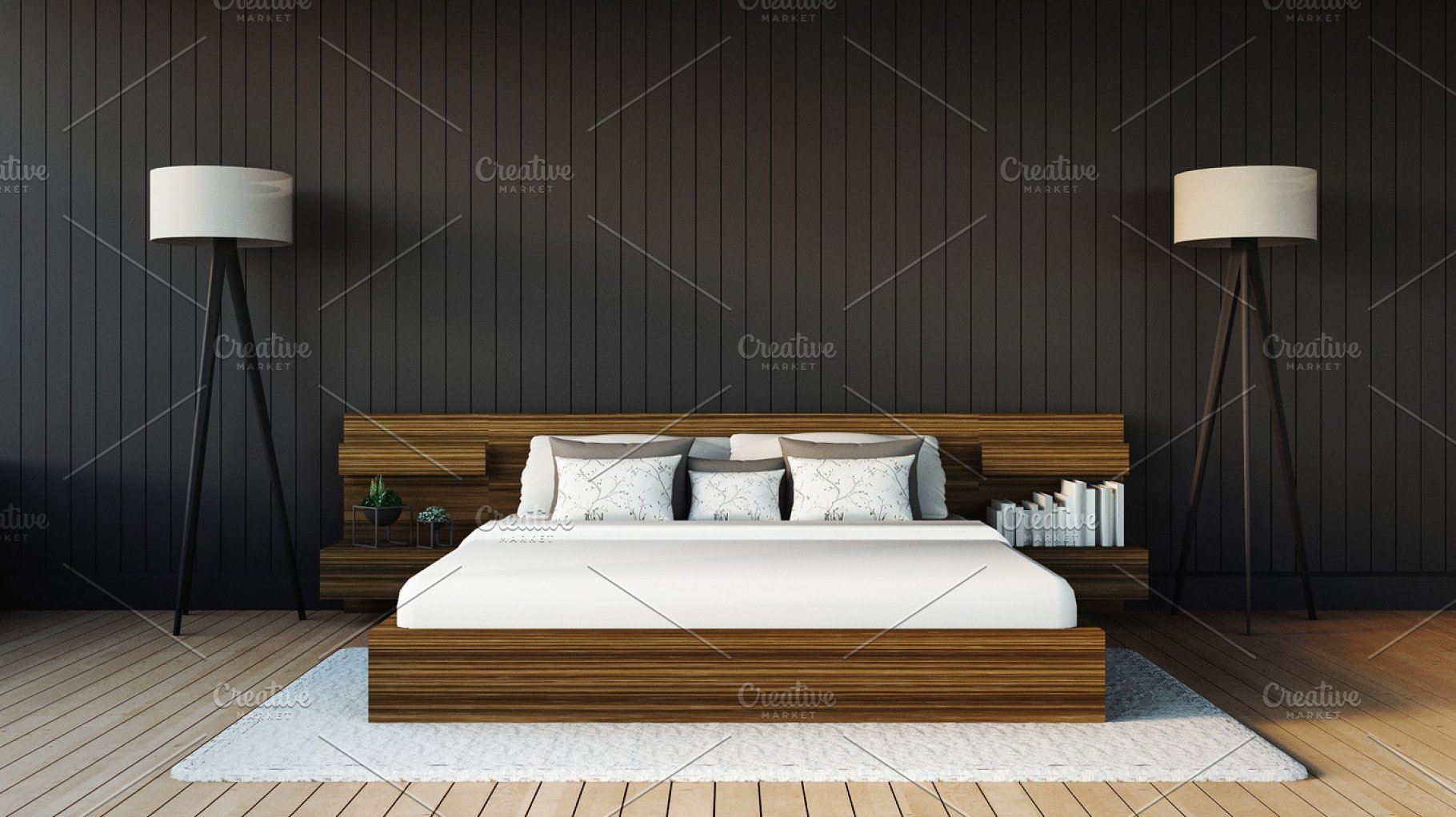 Modern Bedroom 3d Render Image Architecture Photos Creative Market